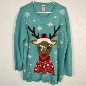 Reindeer Cute Ugly Christmas Sweater With Bells 2x